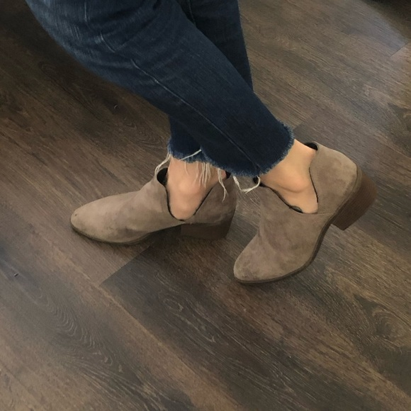 Suede booties heeled ankle boots